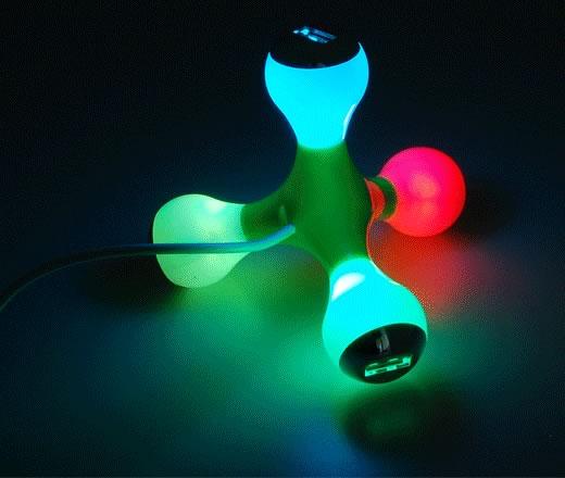 USB 4 Port Flashing Light Hub - светящийся хаб
