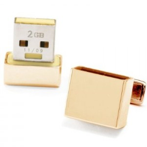 Gold Plated 4GB USB Flash Drive Cufflinks