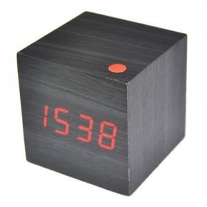 Neewer Modern LED Wood Wooden USB/AAA Cube Alarm Clock - Минималистичный будильник-куб