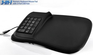 3-in-1 Numeric Keyboard Mouse Pad with 3-Port USB Hub - Коврик, хаб и цифровая клавиатура